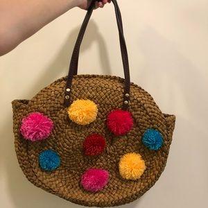 Pom Pom basket tote purse